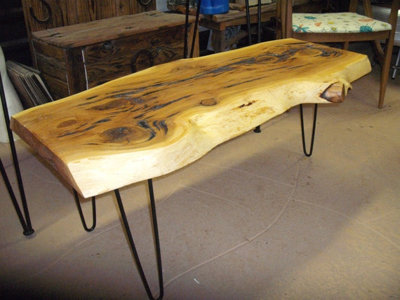 Cedar Aka Cypress Slab Coffee Table With Vintage Hair Pin