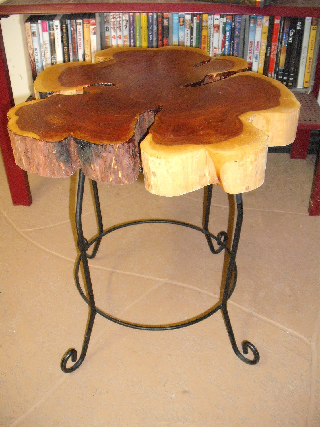 Log Side Table ~ Cedar log slice end table or plant stand