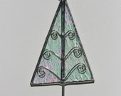 Stained Glass Tree Ornament for Christmas CLEAR ICE with star on top