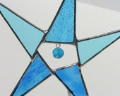 Ocean blues aquamarine stained glass star suncatcher with glass bead accent