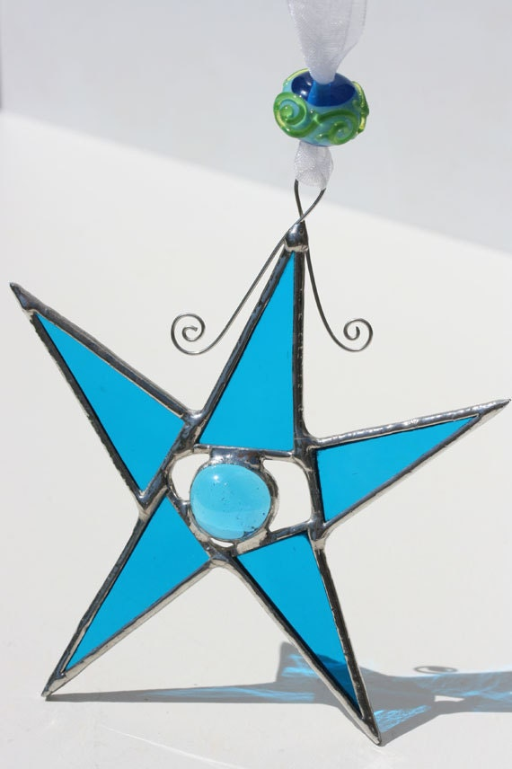 DANCING STAR in ocean blue stained glass suncatcher with handmade glass bead