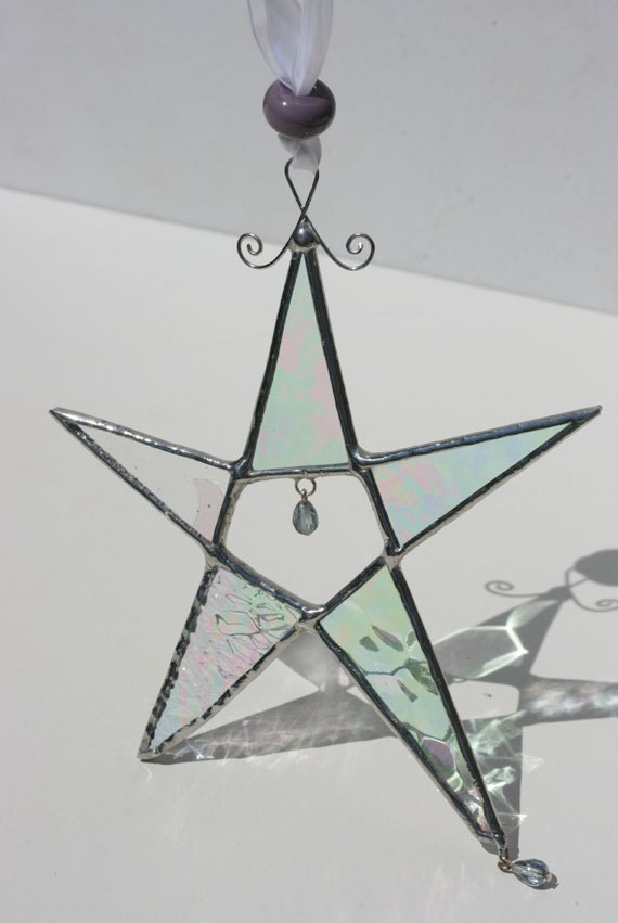 RESERVED for Alison  clear star suncatcher