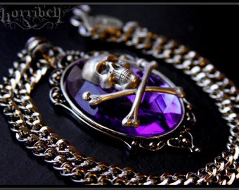 Violet Skull Necklace // Gothic Necklace // Skull Jewelry // Psychobilly Necklace // Skull Cameo // Skull Pendant