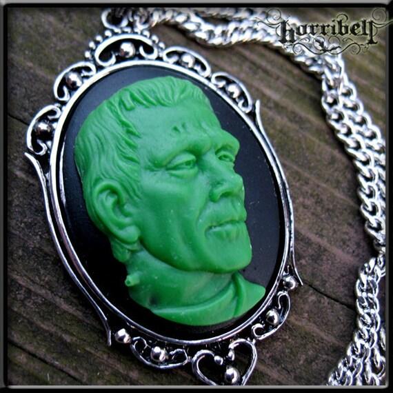 Green Frankenstein Cameo Necklace - SALE - etsy under 15, 20