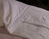 White Linen Pillow Cases with Embroidery and Venetian Lace Trim, Victorian Dress for your bed, Boudoir Romance