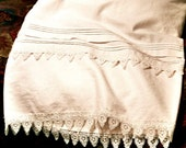 White Linen Pillowcases with Venetian Lace Trim