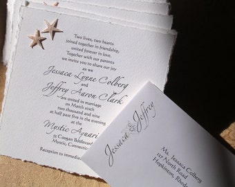 Starfish Wedding Invitations - Custom and Handmade with real starfish