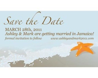 Save the Date Magnets--STARFISH on BEACH--Completely Custom