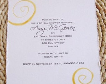 Hand Painted WATERCOLOR Swirl Invitations-Elegant and Custom