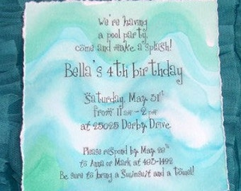 Pool Party Invitation-Hand Painted Watercolor Waves