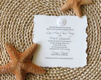 Sand Dollar Invitation-perfect for  Bridal Shower for Beach Wedding