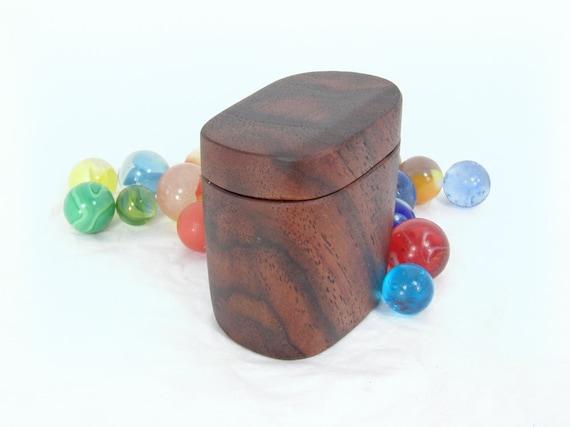 Wood Pill Box, Black Walnut Wooden Box, little box, brown decor, reclaimed wood stash box, groomsman gift, eco wedding, natural jewelry box