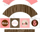 PRINTABLE DIGITAL FILE Camping Woodsy Party Printables (with your own customized accent color)