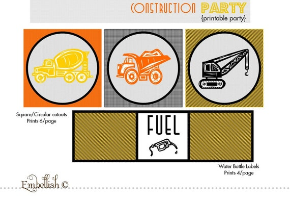 PRINTABLE DIGITAL FILE Construction Party Printables