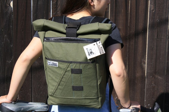 Salvaged Military Canvas Roll Top Backpack
