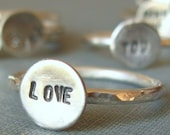 sterling silver stackable stamped ring (one)
