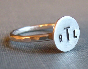 sterling Monogram Ring