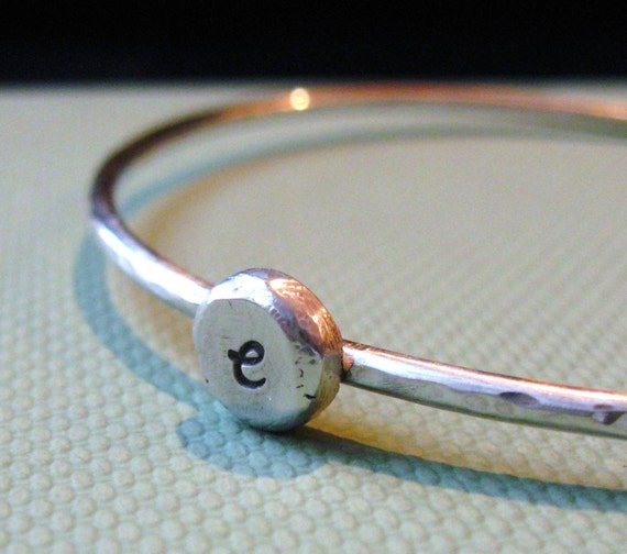 personalized sterling silver pebble bangle