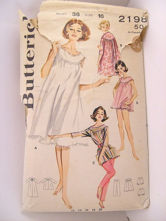 Vintage 1960 Butterick 2198 Pattern, Baby Doll Nightgown, House Coat, Smock Top, Bloomers