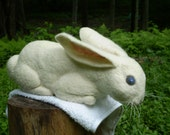 Hand Needle Felted Creamy White Rabbit