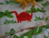 XS/NB  Dino Jungle Stripe Snapless Flannel Fitted Diaper (birth-12lbs)