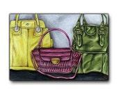 Print: Handbags, 15x10  Based on original Colored Pencil Drawing