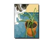 Plant and Kitty, computer graphics print, 5x7