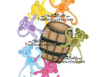 Barrel of Monkeyz paper piecing pattern by Teribears- (TeriCritterz)