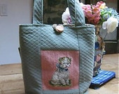 Kitty Vintage Needlepoint Tote
