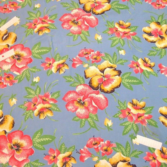 Vintage Rayon Fabric Hawaiian 1yard 1/4""