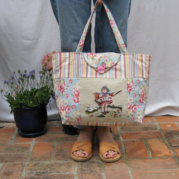 Stripe Tote with Vintage Needlepoint medium