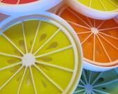 vintage 70s FRUIT SLICE citrus colors coaster set