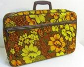 vintage fabric suitcase - boho flowers - mustard rust orange - 1970s - RESERVED for Natalie (ylatan)