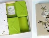 vintage stationery set - lime green - paper - envelopes - Asian box - 1960s