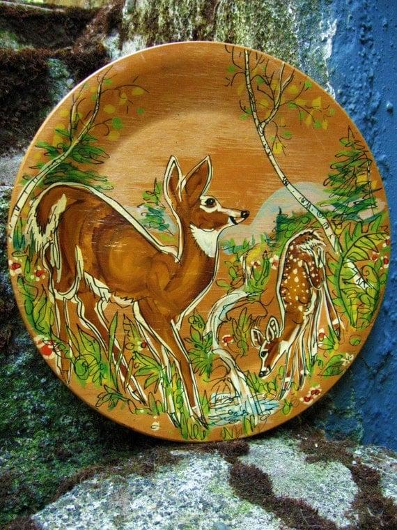 vintage DEER hand painted wood plate