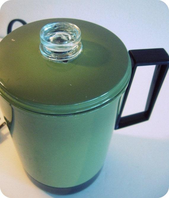 vintage coffee percolator AVOCADO green