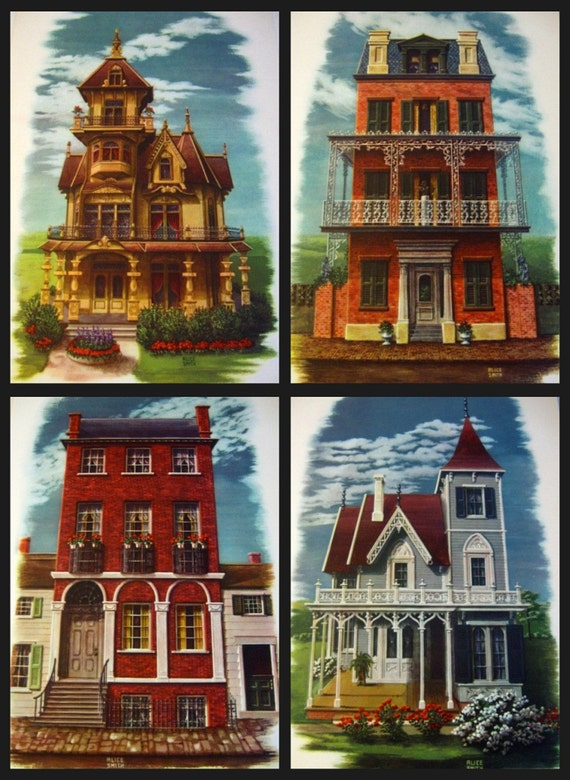 Vintage Prints Victorian Houses Alice Smith