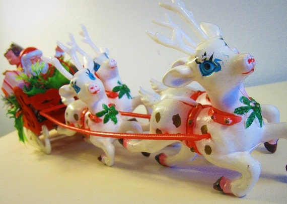 vintage Santa and sleigh Christmas decoration