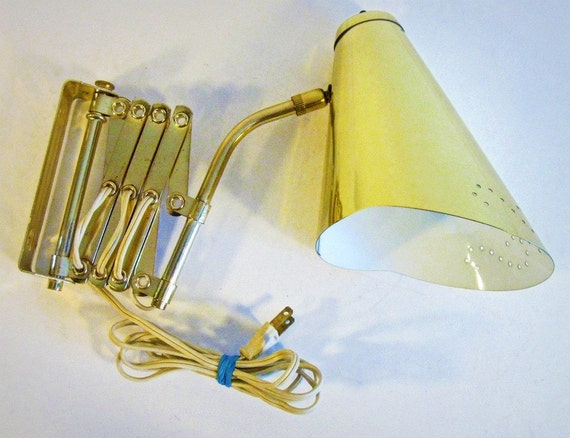 Vintage Lamp Brass Accordion Arm Task Light By