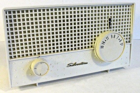vintage radio - Sears Silvertone - ivory - AM only - 1960s