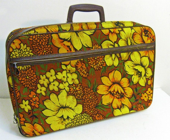 vintage fabric suitcase - boho flowers - mustard rust orange - 1970s - RESERVED for Natalie (ylatan)