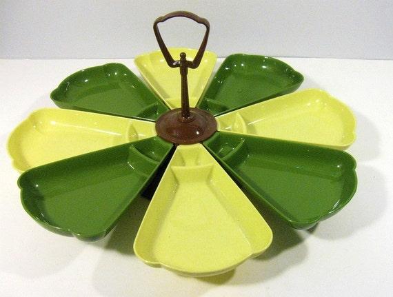 vintage lazy susan - avocado green - serving dish - 1950s