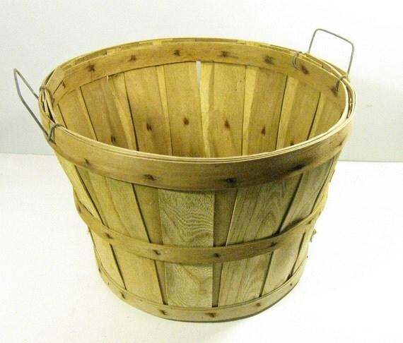 vintage rustic wood bushel storage basket