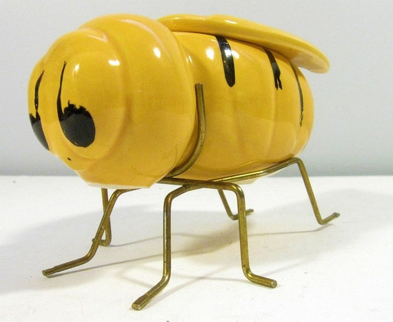 Vintage Honey Dish Bumble Bee Ceramic Brass Leg Stand