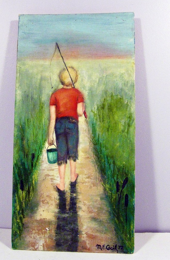 vintage painting - country boy fishing - boys room decor - 1970s