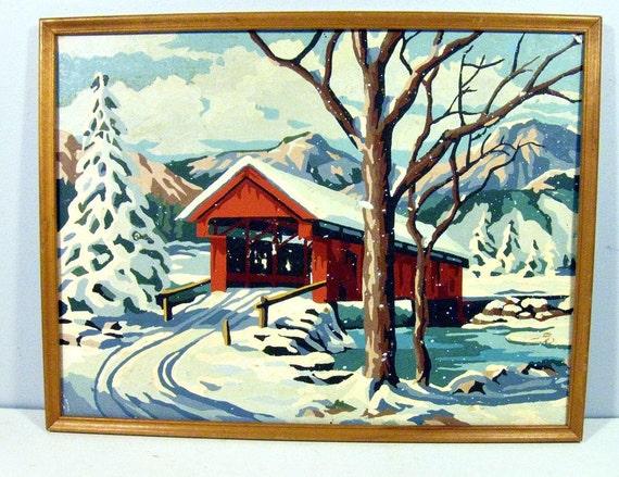 vintage paint by number - winter bridge - framed - 12 x 16