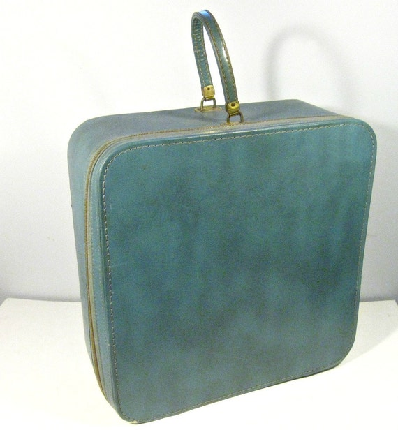 vintage suitcase - grey blue - square - carry on - medium - 1960s