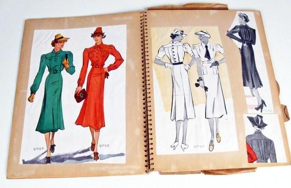 vintage scrapbook - fashion - homemade - WWII era - 1930s-1940s