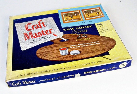 vintage paint by number kit - flying ducks - Craft Master - oil paint - 1960s