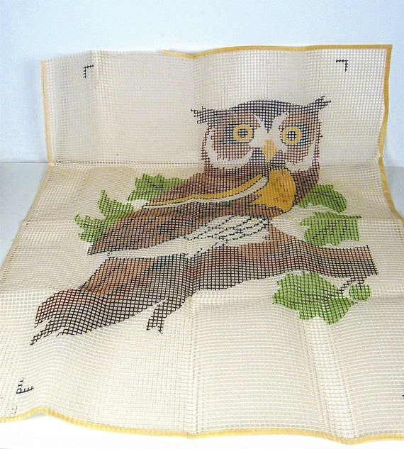 vintage owl latch hook canvas